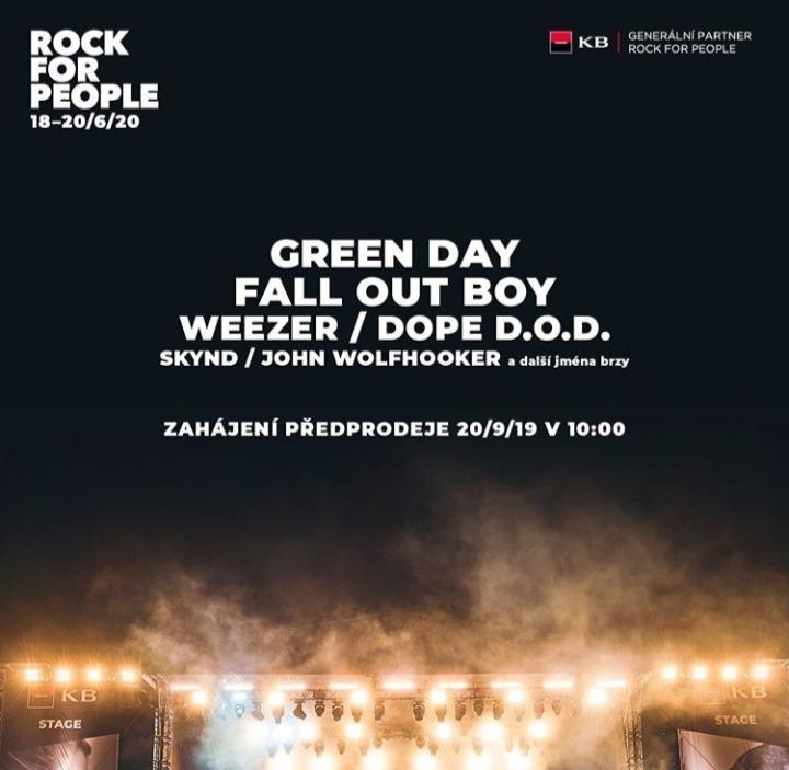 Rock For People zná první interprety. Přijedou Green Day a Fall Out Boy